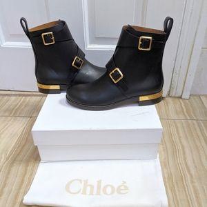 Chloe Colby Buckle Biker Black Gold Boot
